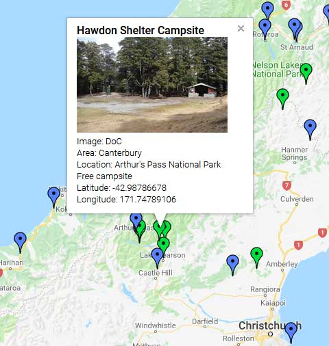 Map of Campsites in New Zealand