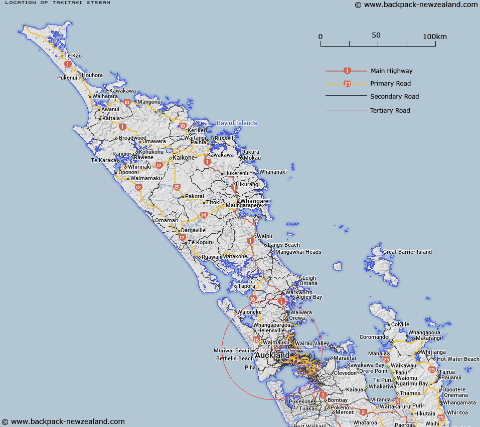 Takitaki Stream Map New Zealand