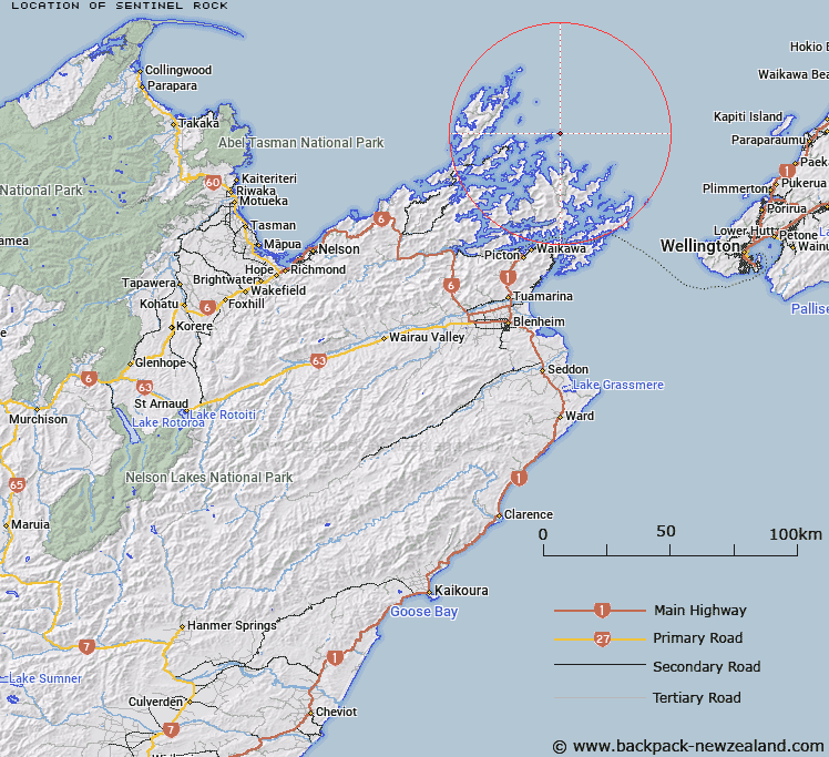 Sentinel Rock Map New Zealand