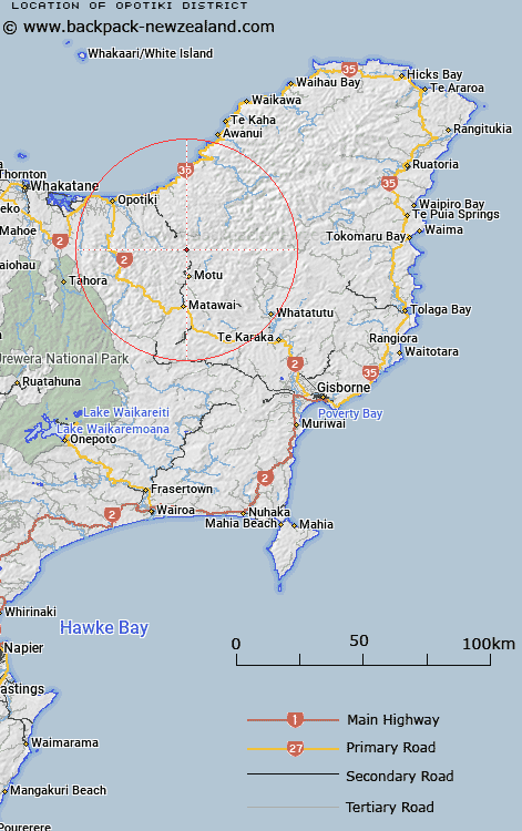 Opotiki District Map New Zealand