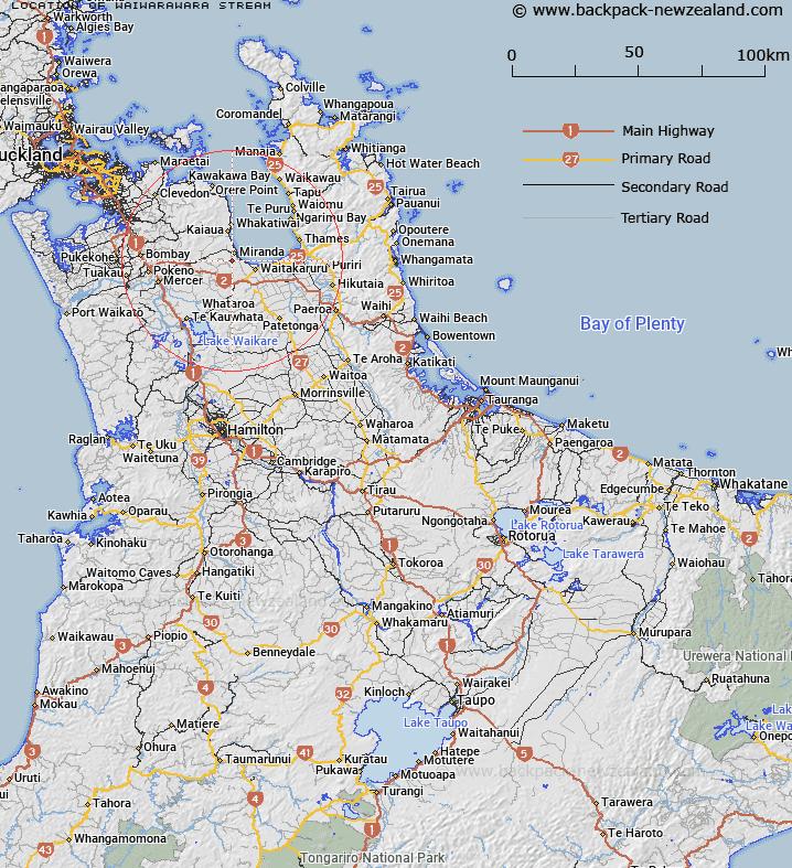 New Zealand Highway Map.Where Is Waiwarawara Stream Map New Zealand Maps