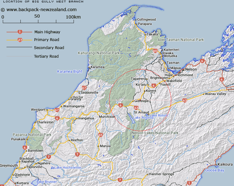 Big Gully West Branch Map New Zealand