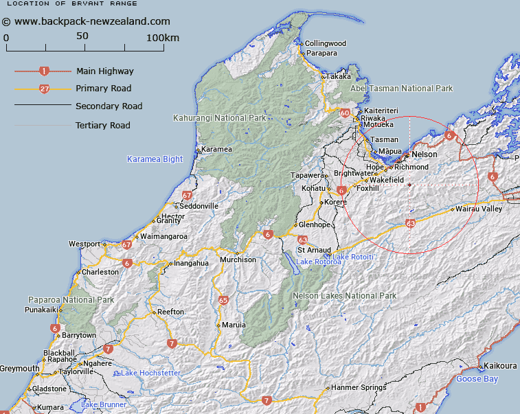 Bryant Range Map New Zealand