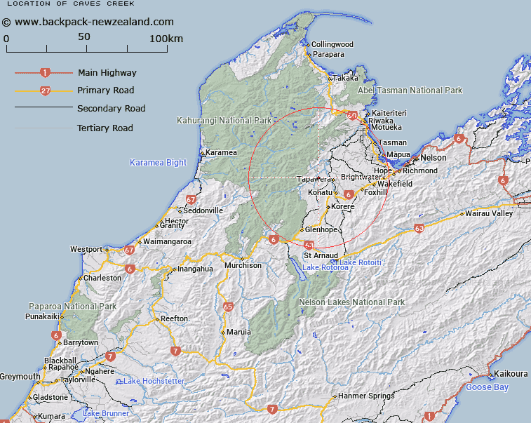 Caves Creek Map New Zealand