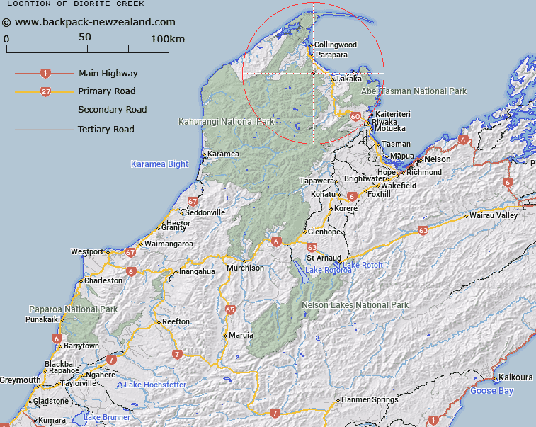 Diorite Creek Map New Zealand