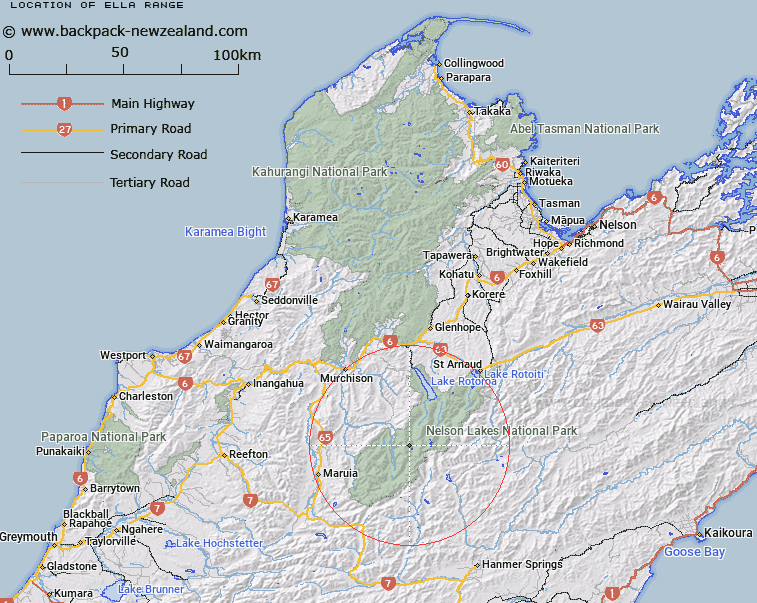 Ella Range Map New Zealand