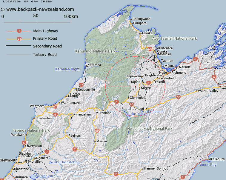 Gay Creek Map New Zealand