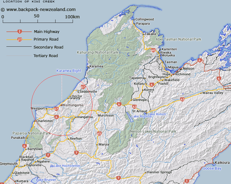 Kiwi Creek Map New Zealand