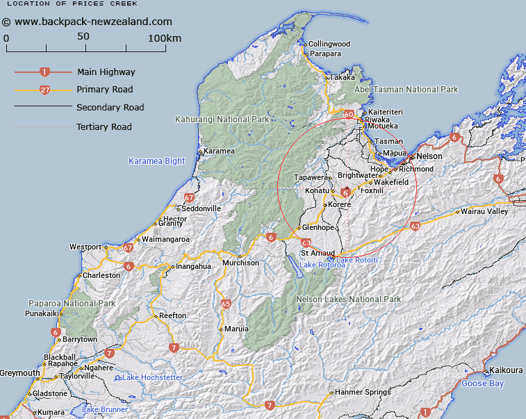 Prices Creek Map New Zealand