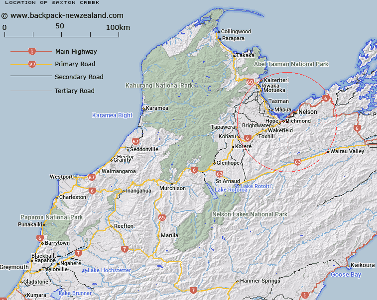 Saxton Creek Map New Zealand