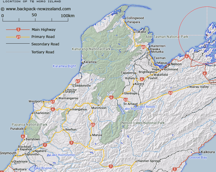Te Horo Island Map New Zealand