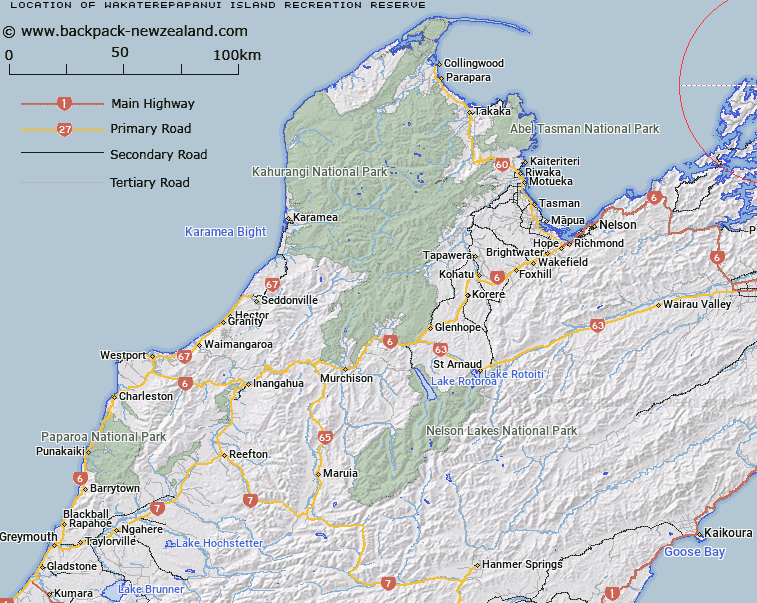 Wakaterepapanui Island Recreation Reserve Map New Zealand