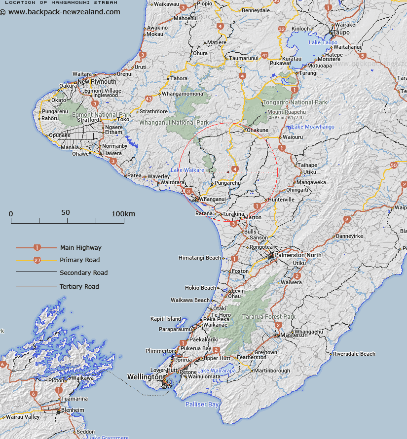 Mangahowhi Stream Map New Zealand