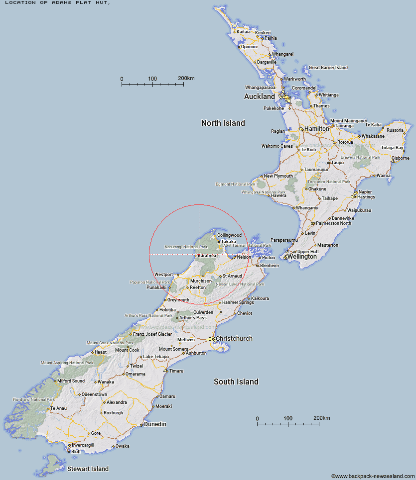Adams Flat Hut Map New Zealand