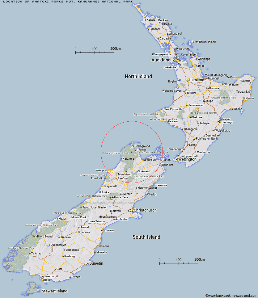 Anatoki Forks Hut Map New Zealand