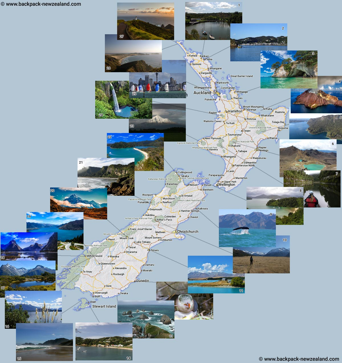 Photo Map of New Zealand