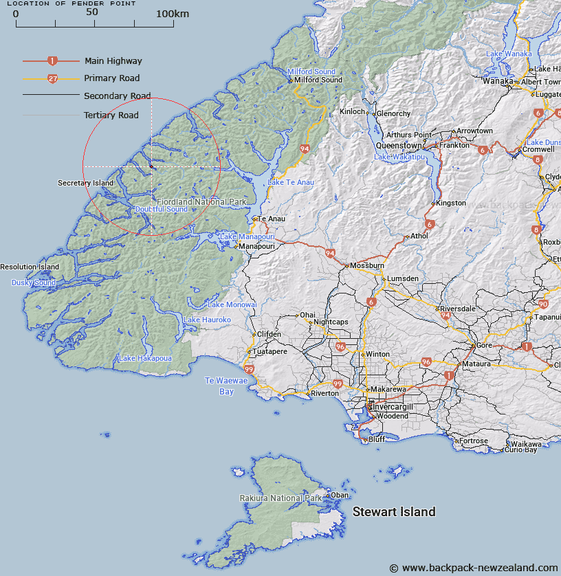 Pender Point Map New Zealand