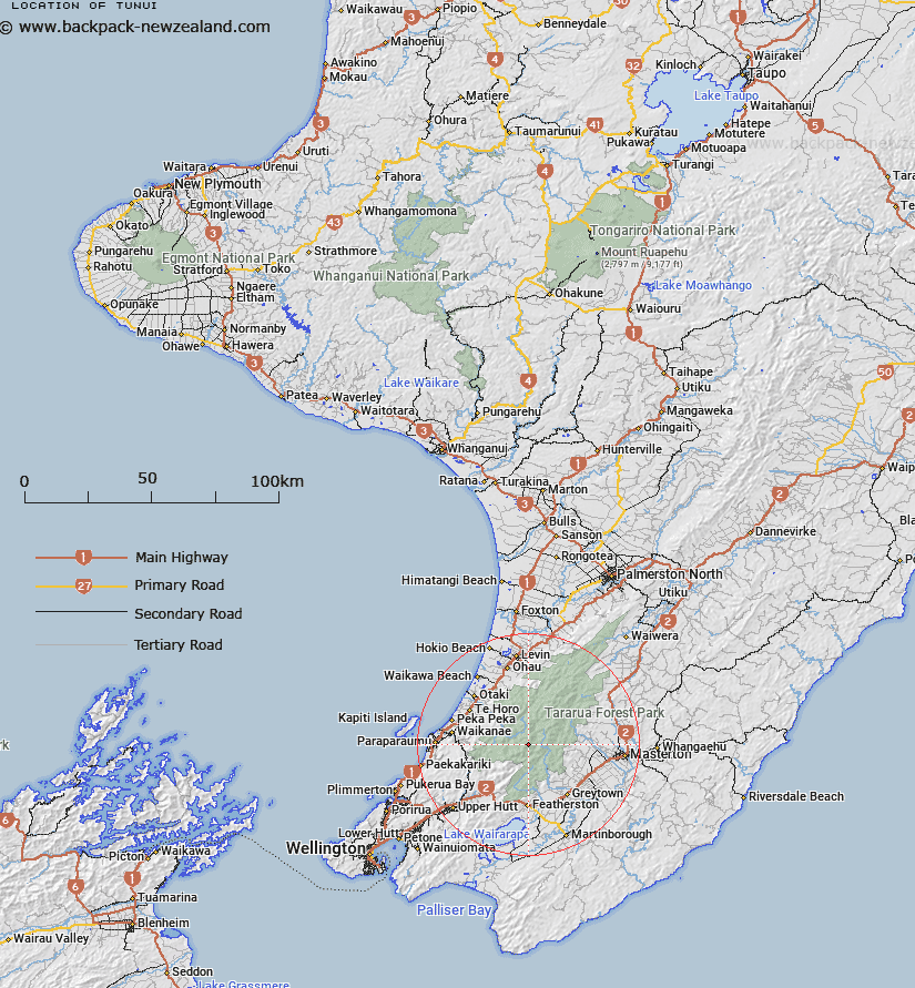Tunui Map New Zealand